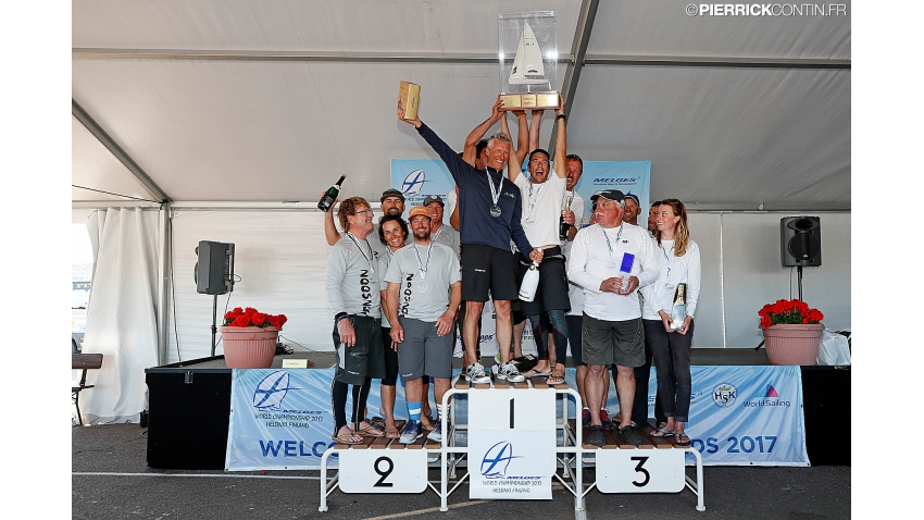 2017 Melges 24 World Championship podium - Maidollis ITA854, Monsoon USA851, Mikey USA835 - Helsinki, Finland