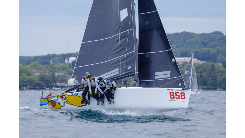 Travis Weisleder with tactician Mike Buckley, George Peet, Chewy Sanchez and John Bowden on Lucky Dog / Gill Race Team USA858 at the 2019 Melges 24 North American Championship