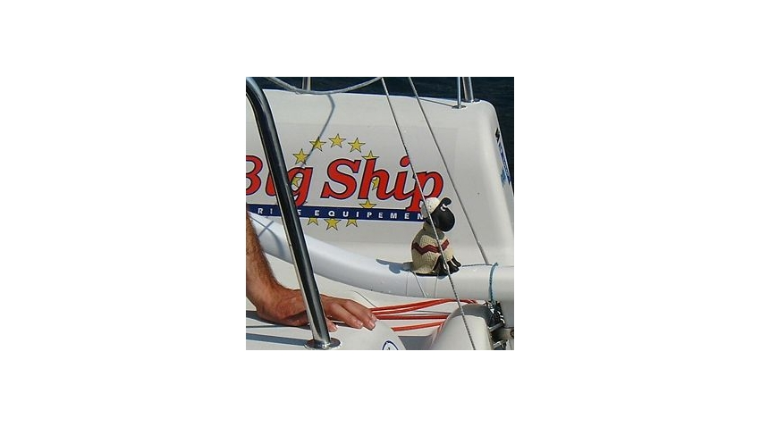 Cedric Pouligny's lucky mascot Sean The Sheep (who sits on his tiller) - Melges 24 Europeans 2001