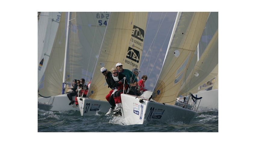 Action from day four of the 2005 Melges 24 Europeans at Torquay - No Woman No Cry GER582 - Alba Batzill helming for Eddy Eich