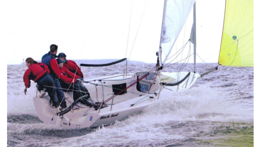 Black Seal GBR437 of Richard Thompson with Jamie Lea at the helm - 3rd at the 2002 Melges 24 Worlds in Travemünde, Germany