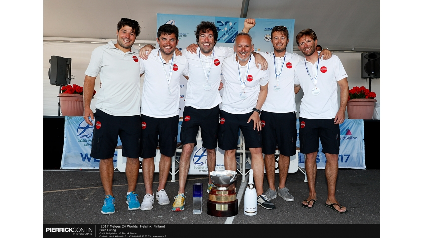 Taki 4 ITA778 -  Niccolò Bertola, Giacomo Fossati, Giovanni Bannetta, Matteo De Chiara, Marco Zammarchi, Franceso Bianchi and Niccolo Bianchi as coach -  The Challenge Henri Samuel Trophy - 2017 Melges 24 Corinthian World Champion