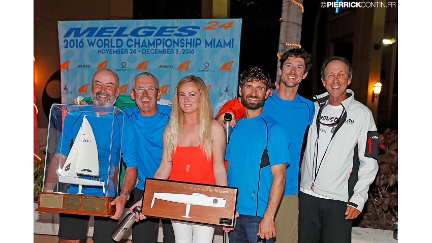 2016 Melges 24 World Champion - Embarr IRL829 of Conor Clarke, with Stuart McNay (USA), David Hughes (USA), Maurice O'Connell, Aoife English and coach Morgan Reeser with the Melges Performance Sailboats Trophy