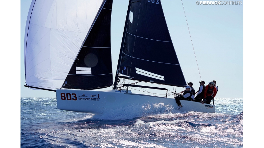 Eddy Eich's Musto Racing GER803 at the 2019 Melges 24 World Championship in Villasimius, Sardinia, Italy