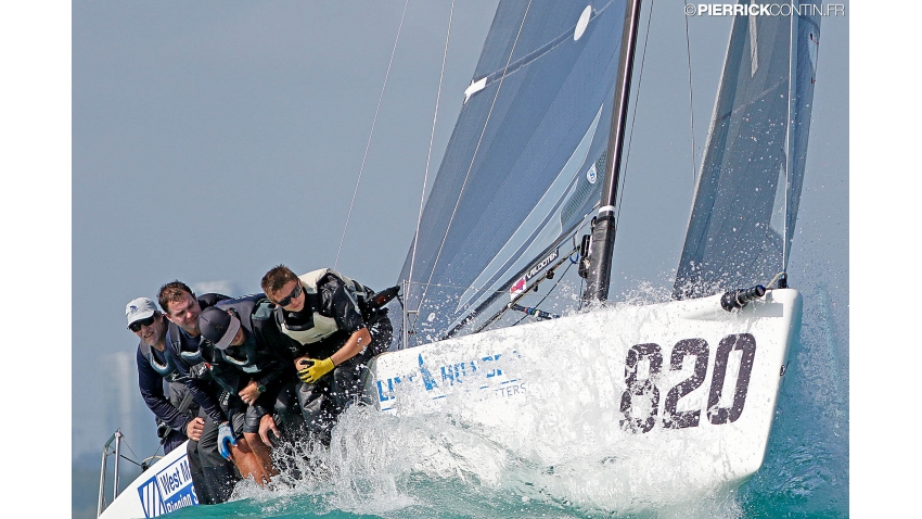 Bora Gulari's USA820 with Norman Berge, Jonathan McKee, Kyle Navin and Charlie Smythe at the 2016 Melges 24 Worlds in Miami