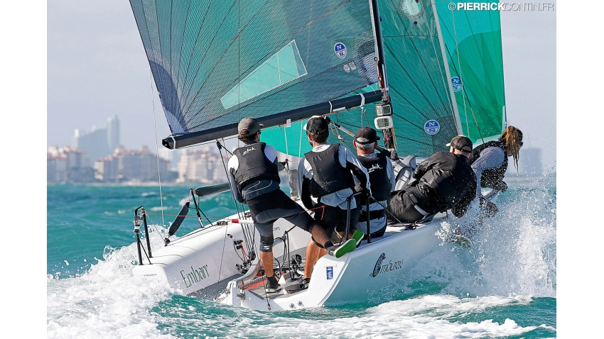 Conor Clarke's Embarr IRL829 with Stuart McNay helming - 2016 Melges 24 World Champion in Miami