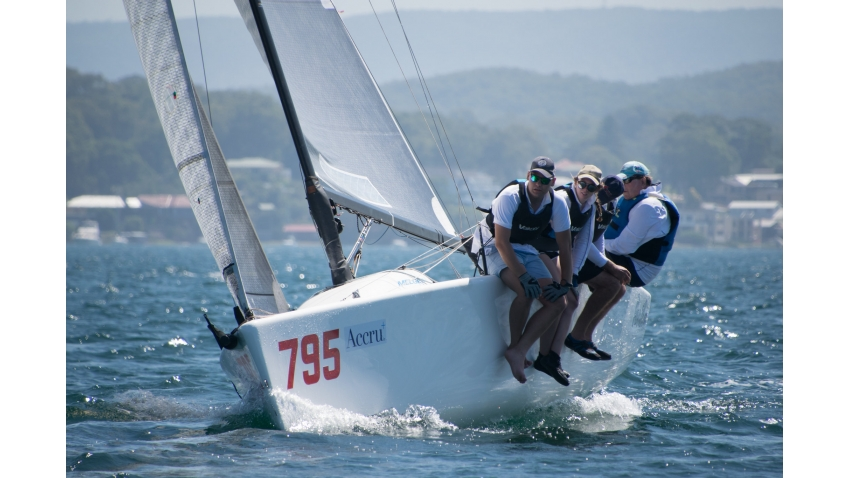 Steve O' Rourke's Panther AUS795. On this photo sailing at the 2019 Accru Melges 24 Australian National Championship on lake Macquarie.
