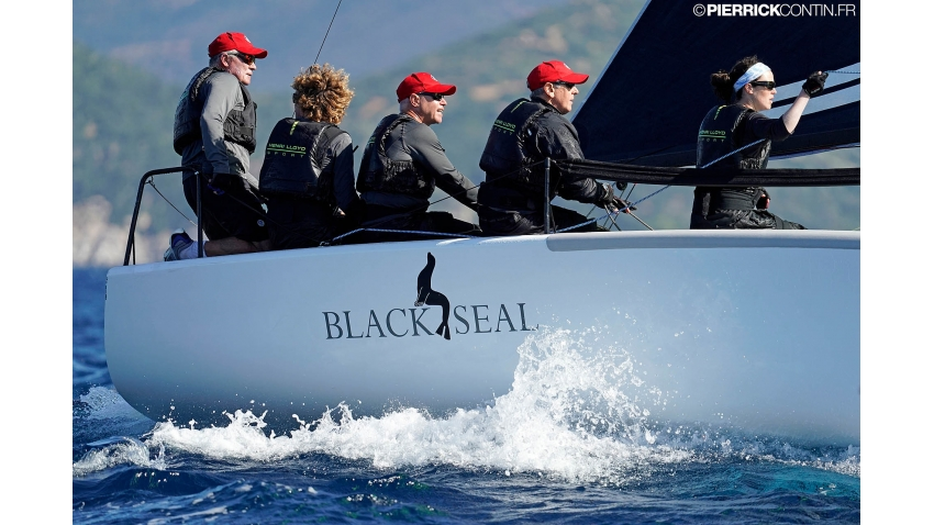 Richard Thompson and his Black Seal with Nigel Young, Stefano Cherin, Michael Claxton and Catherine Alton  - 2019 Melges 24 World Championship - Villasimius, Sardinia, Italy