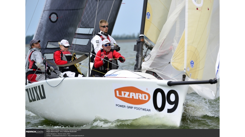 ZUXU EST791 of Peter Saraskin with Kalev Tanner, Karl-Hannes Tagu, Liis Koort and Tuuli Org at the 2013 Magic Marine Melges 24 European Championship - Medemblik, the Netherlands