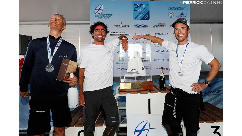 Carlo Fracassoli, Enrico Fonda and Gianluca Perego celebrating 2017 Melges 24 World Champion title in Helsinki, Finland
