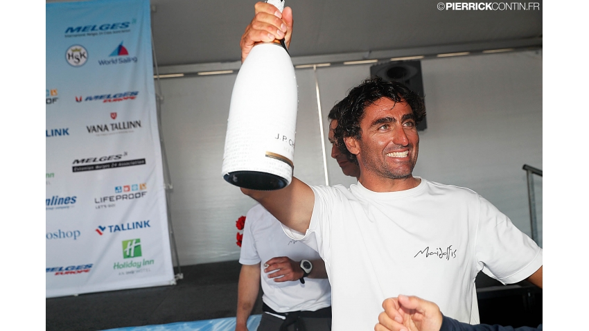 Enrico Fonda celebrating 2017 Melges 24 World Champion title in Helsinki, Finland