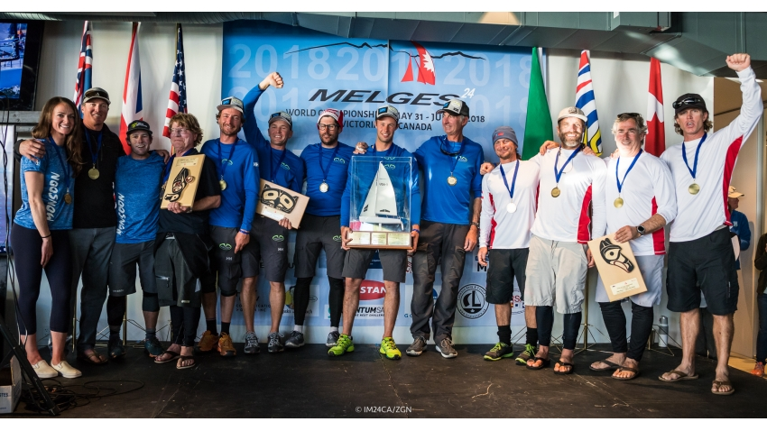 Podium of the 2018 Melges 24 Worlds in Victoria, BC, Canada - Altea ITA722, WTF USA829, Monsoon USA851