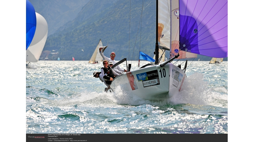 Carlo Vroon of Gelikt NED789 at the 2012 Melges 24 Pre-Worlds on Lake Garda, Torbole, Italy