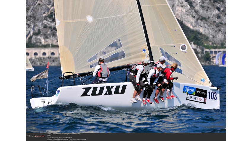 ZUXU EST791 of Peter Saraskin at the 2012 Melges 24 Worlds in Torbole, Italy