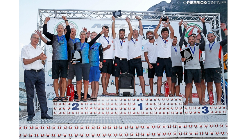 Corinthian best three of the 2018 Melges 24 European Championship in Riva del Garda, Italy - Taki 4 ITA778, Lenny EST790, Seven-Five-Nine HUN759