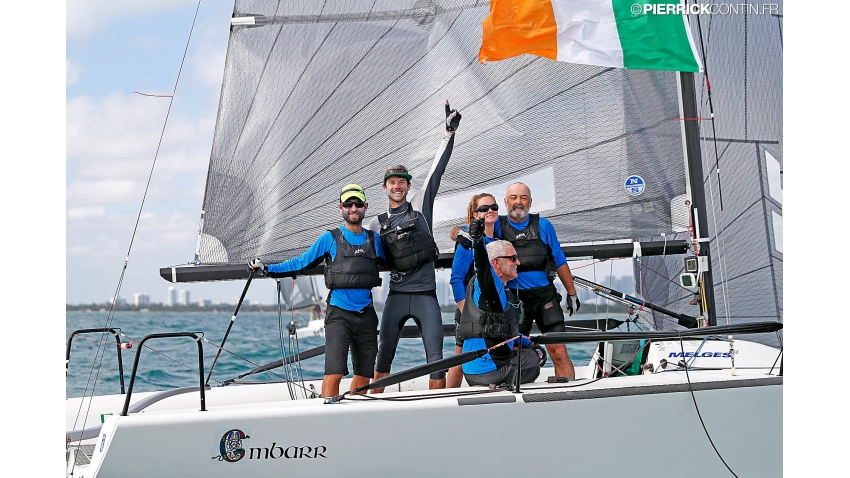 Embarr IRL829 of Conor Clarke with Stuart McNay (USA), David Hughes (USA), Maurice O'Connell, Aoife English, coach Morgan Reeser - 2016 Melges 24 World Champion in Miami