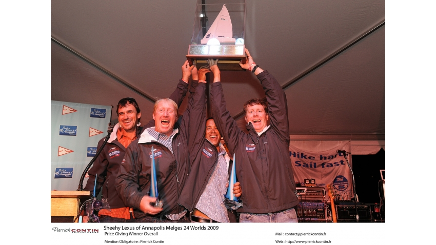 Chris Larson, Richard Clarke (CAN), Mike Wolfs (CAN), Curtis Florence (CAN) - 2009 Melges 24 World Champions on West Marine / New England USA655  - Annapolis, USA