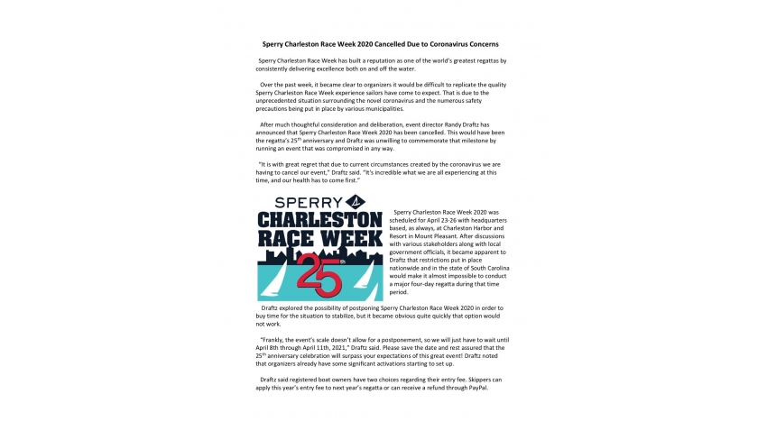 Cancellation of the Sperry Charleston Race Week 2020
