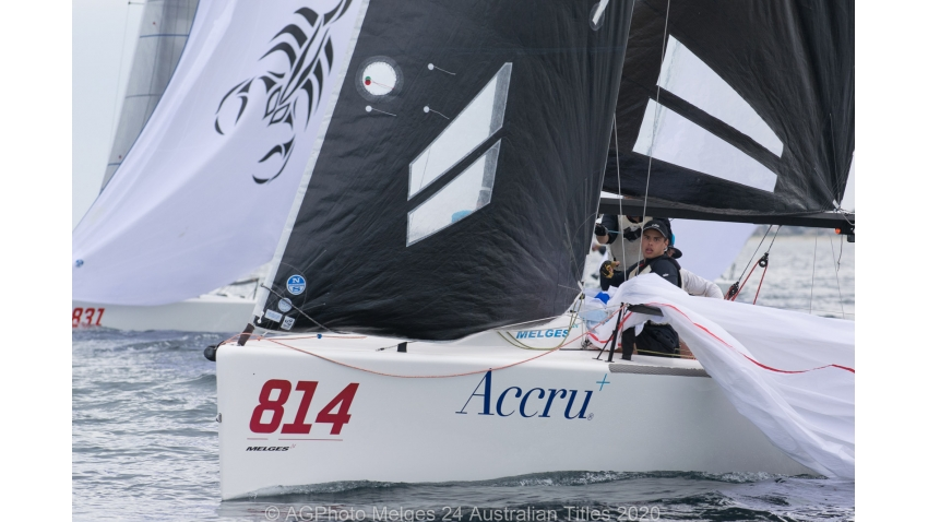 Glenda and Kevin Nixon's Accru during a spinnaker drop - 2020 Melges 24 Australian Nationals