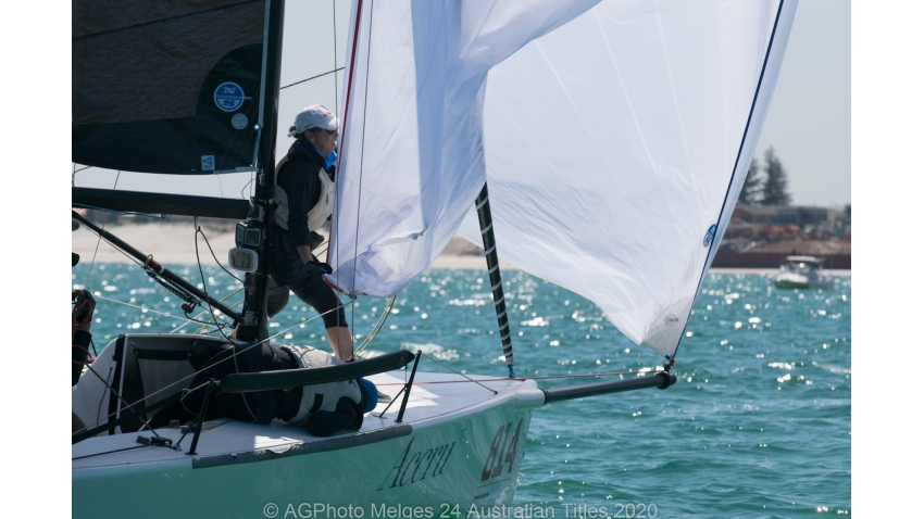 Glenda and Kevin Nixon's Accru sits fourth overall after Day 1 - 2020 Melges 24 Australian Titles