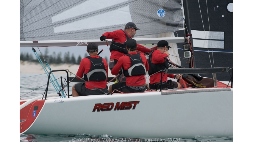 Robin Deussen's Red Mist working hard in the light conditions - 2020 Melges 24 Australian Nationals