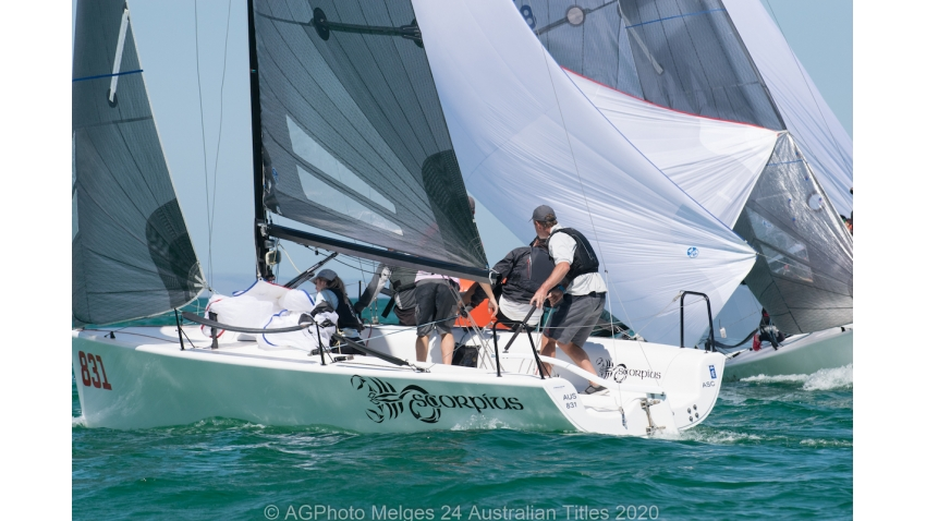 Sandy Higgins and his team on Scorpius sit one point behind the lead - 2020 Melges 24 Australian Titles