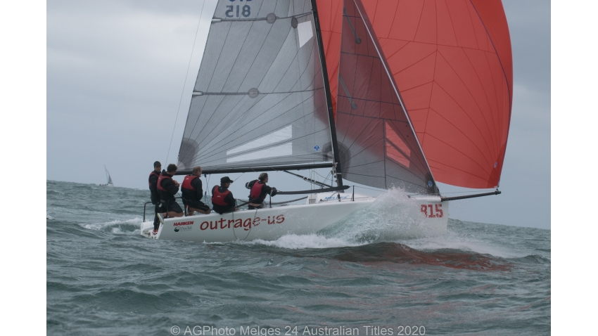 Silas Nolan and the team on Outrage-Us had a few good sends - 2020 Melges 24 Australian Nationals