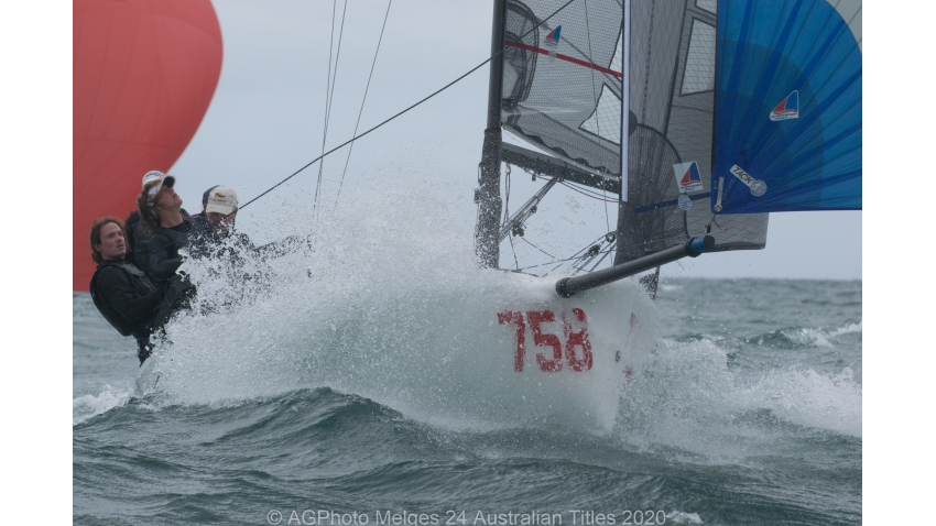 Wet wild and windy on the final day of the 2020 Melges 24 Australian Nationals