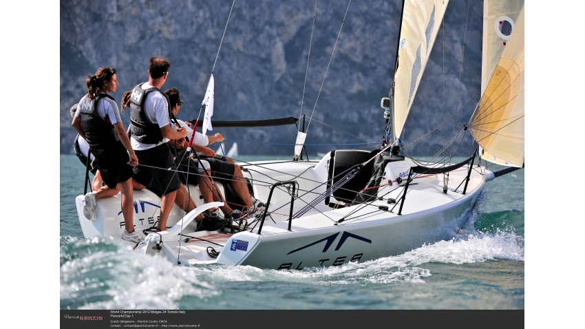 Andrea Racchelli helming Altea at the 2012 Melges 24 World Championship in Torbole, Italy