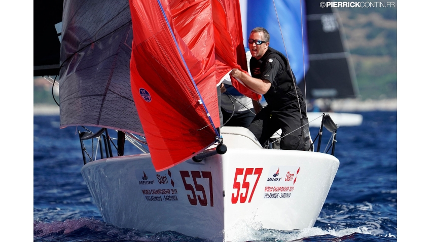 Imagine GBR557 of David Rowen with Jamie Lea in tactics, Jim Schwerdt and Fred Kemp in crew - 2019 Melges 24 Worlds, Villasimius, Sardinia, Italy