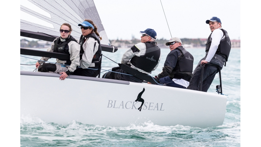 Black Seal GBR850 of Richard Thompson with Jamie Lea in tactics, Nigel Young, Krista Paxton and Rachel Williamson in crew  - the winner of the Quantum Key West Race Week 2016