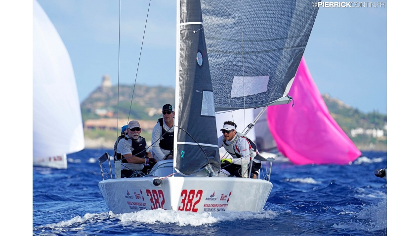 Cinghi Aile SUI382 of Michael Good with Nino Castellan, Katharina Hanhart, Michael Neracher and Regina Tzeschlock at the 2019 Melges 24 Worlds in Villasimius, Sardinia, Italy