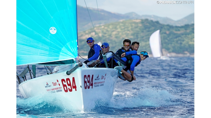 Gill Race Team GBR694 of Miles Quinton with Geoff Carveth at the helm and Calum Healey, Hannah Peters and Oliver Wells in crew - 2019 Melges 24 World Championship - Villasimius, Sardinia, Italy