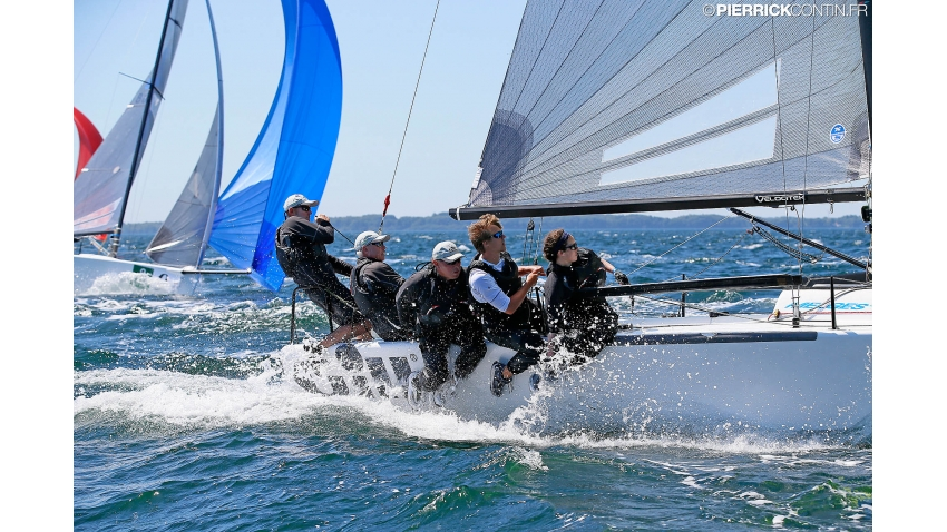 Gill Race Team GBR694 of Miles Quinton with Geoff Carveth at the helm and Graig Burlton, Adam Brushett and Catherine Alton in crew - 2016 Melges 24 Europeans - Hyeres, France