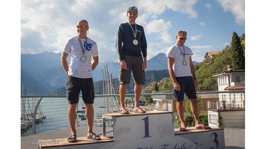 Andrea Racchelli, Tõnu Tõniste and Paolo Brescia - the overall podium of the 2020 Melges 24 Italian Championship in Torbole