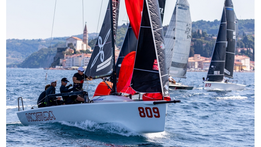 Arkanoe by Montura ITA 809, skippered by Sergio Caramel, took a very close second with 9 points at the 2020 Melges 24 European Sailing Series Event #3 in Portoroz, Slovenia on Day One