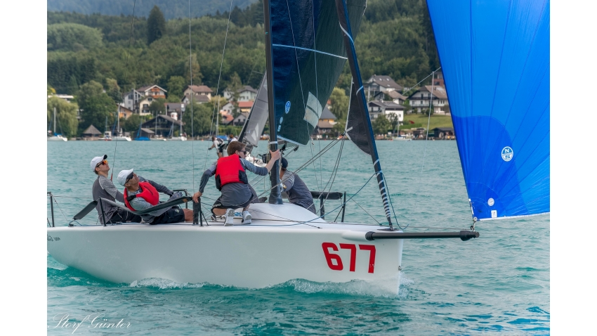 White Room GER677 of Michael Tarabochia - current leader of the 2020 Melges 24 European Sailing Series at the Melges 24 European Sailing Series Event #2 in Attersee, Austria