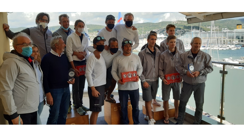 Overall podium of the final event of the 2020 Melges 24 European Sailing Series in Trieste