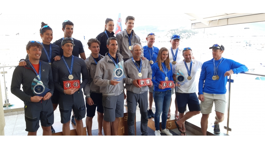 Overall podium of the 2020 Melges 24 European Sailing Series