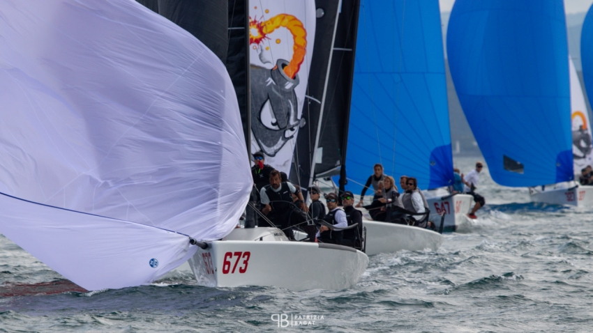 Team Nefeli GER673 of Peter Karrie is leading the pack in Trieste at the final event of the 2020 Melges 24 European Sailing Series