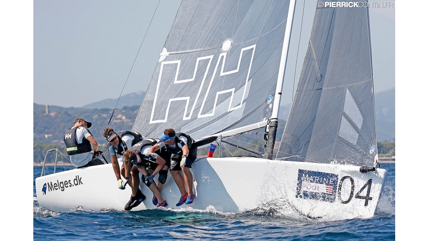 Melges.dk DEN612 of Kris Houmann with Rasmus Damsgaard, Rasmus Melsen and Soren Braad Steen at the 2016 Melges 24 Europeans, Hyeres, FRA