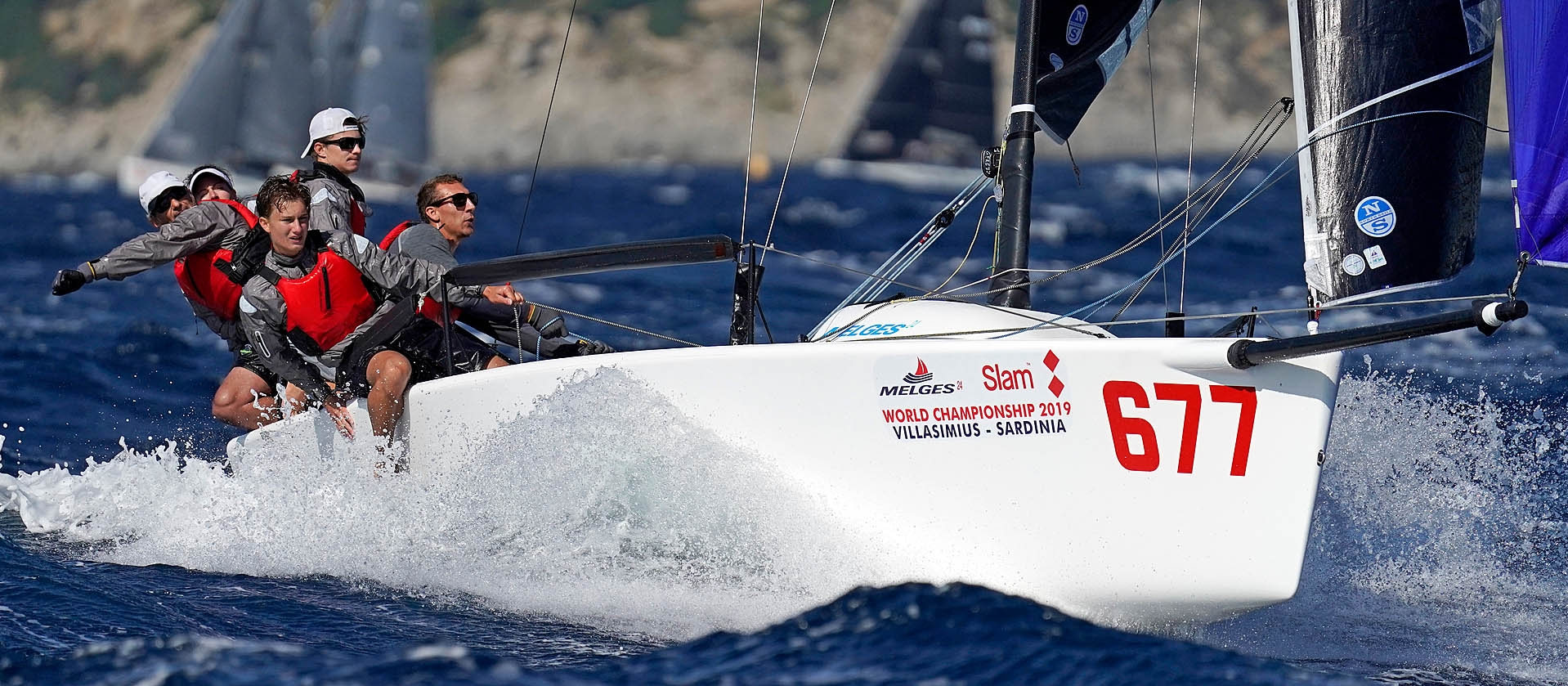 White Room GER677 of Michael Tarabochia at the 2019 Melges 24 World Championship in Villasimius, Sardinia, Italy