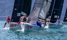 Andrea Racchelli's Altea ITA722 is leading the pack getting the bullet on today's second race - 2020 Melges 24 European Sailing Series Event #1 in Torbole, Italy