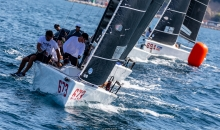 Peter Karrie's Nefeli GER673 with Alessandro Franci, Niccolo Bianchi, Saverio Cigliano, Carlo Zermini took an early lead in Portoroz at the 2020 Melges 24 European Sailing Series 3rd regatta on Day One